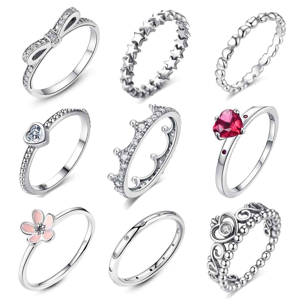 c1226fa016752 Authentic Original 925 Sterling Silver Rings Hollow Heart To Heart Ring For  Women Birthday Gift Fine Party Fit Pan Jewelry Rings