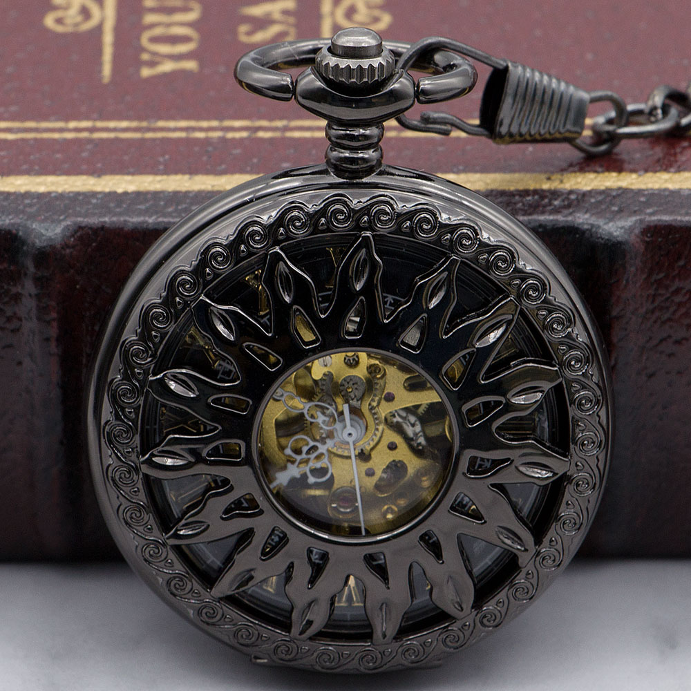 Fashion Cool Bronze Hollow Sun Flower Design Skeleton Mechanical Pocket Watch With Chain For Men Women PJX1330