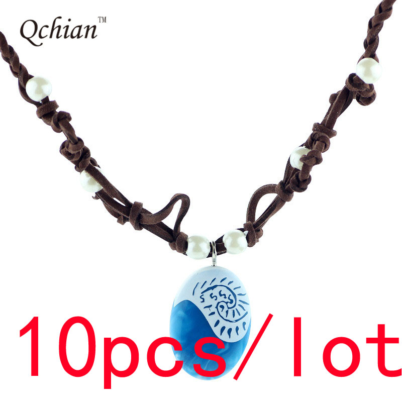 10pcs/lot Ocean Princess Moana Necklace Cosplay Decoration Jewels Beautiful Birthday Gift for Girls
