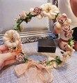 Ajustable señora Champagne encaje de flores corona boda de playa de la venda del pelo cabeza corona de mujeres
