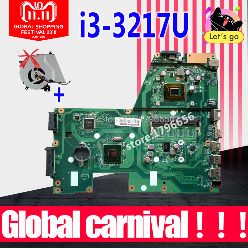 New fan+ X551CA I3-3217U 1 RAM Slot Laptop motherboard for ASUS X551CA F551C F551CA NoteBook Computer Test original motherboard