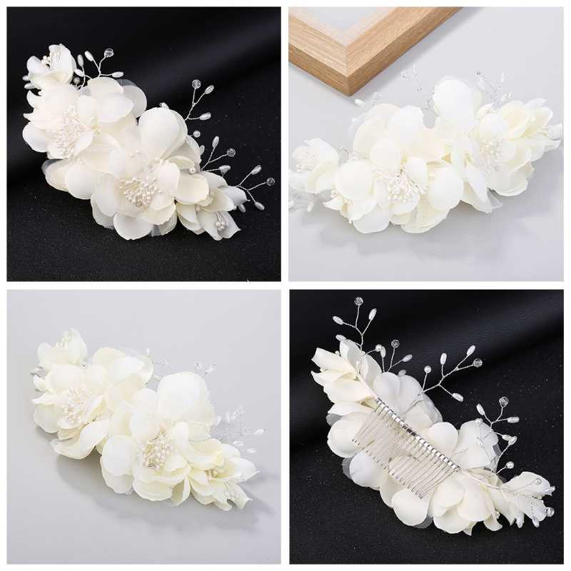 Bride Comb Wedding White Simulation Flower Hair Accessories Headwear Floral Lace