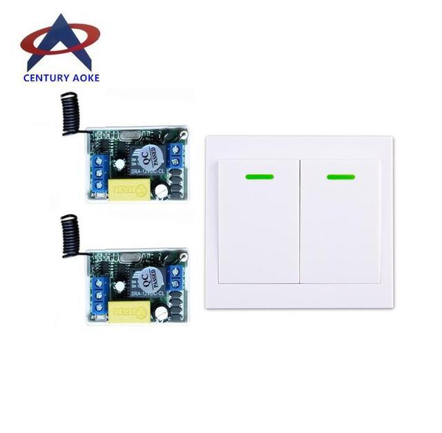 220 v 1 ch RF draadloze afstandsbediening schakelaar 2 ontvanger 1 zender muren afstandsbediening zelf lock modus