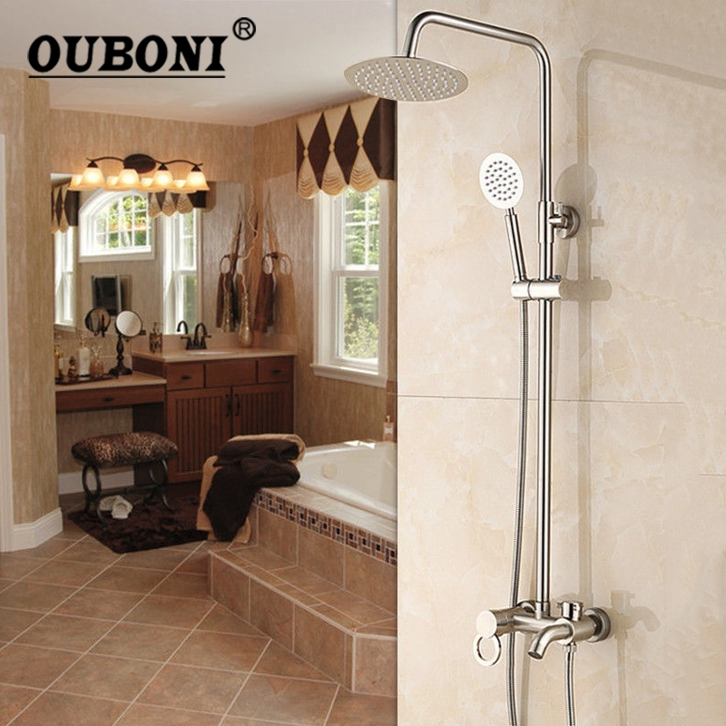 Nickel Brushed Bathroom Shower Faucet Cold and Hot Water Mixer Single Handle Adjustable rain Shower Bar Wall Mounted Shower Sets