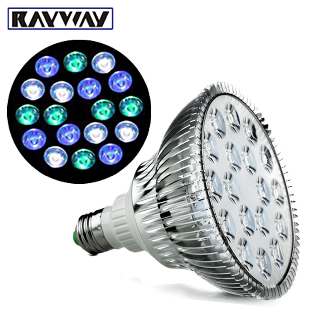 RAYWAY Full Spectrum Led Aquarium Lights E27 Cool white blue green LED Coral Reef Grow Light Fish Tank Lamp LED Aquarium Bulbs 147w led aquarium lights ufo led aquarium light lamp coral reef saltwater marine fish tank with white blue color