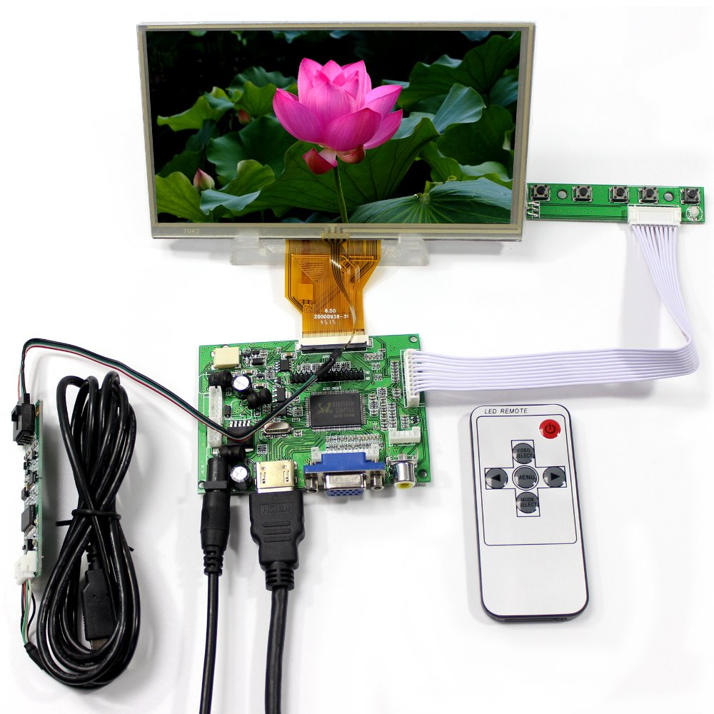 HDMI VGA2AV LCD Controller Board+6.5inch AT065TN14 800x480 LCD Screen With Touch Panel hdmi vga 2av lcd controller board with 7inch n070icg ld1 39pin reversal1280x800 ips touch lcd