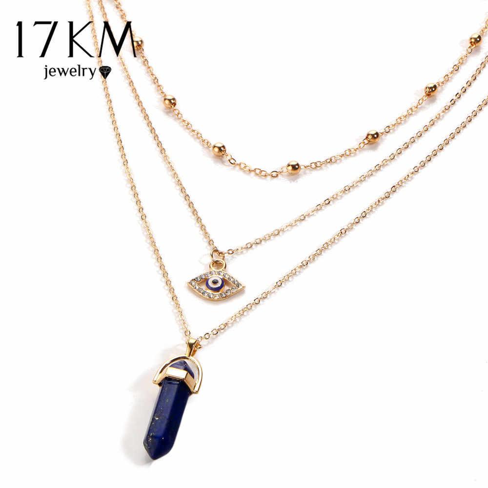 17 キロヴィンテージオパール石チョーカーネックレスファッション多層クリスタルアイペンダントネックレスステートメントボヘミアンジュエリーメッキ