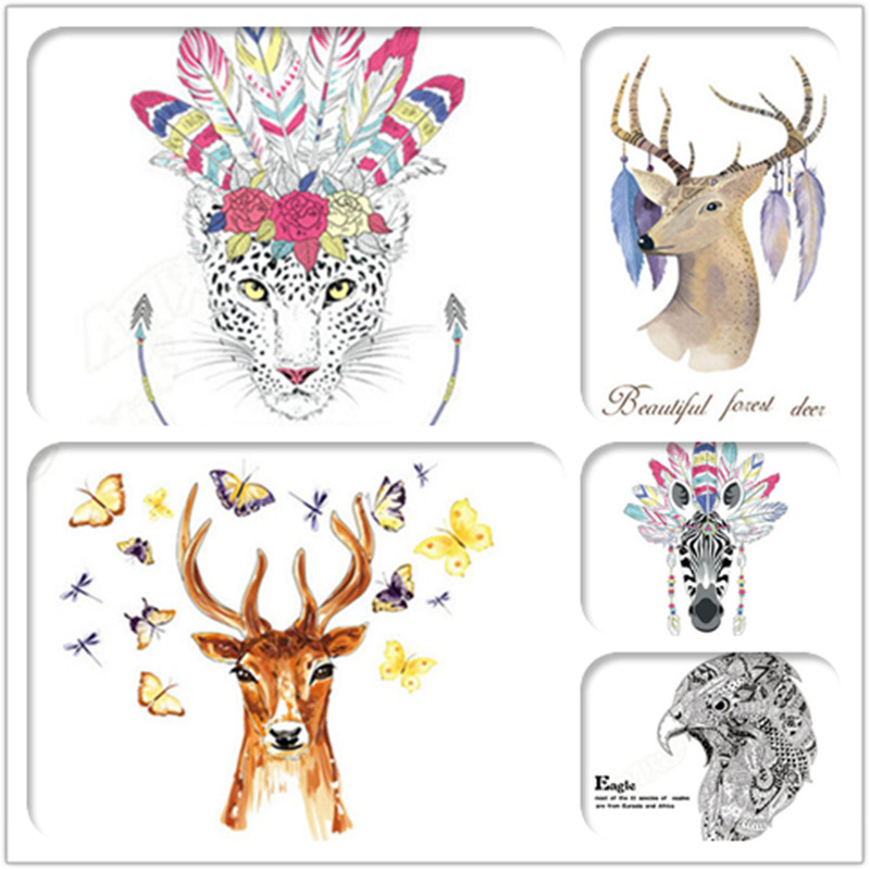 Colorful Animals Head Hippie Fashion Deer Horse Zebra Eagle Wall Sticker Creative Art Pictures Home Decor Wall Painting Decals