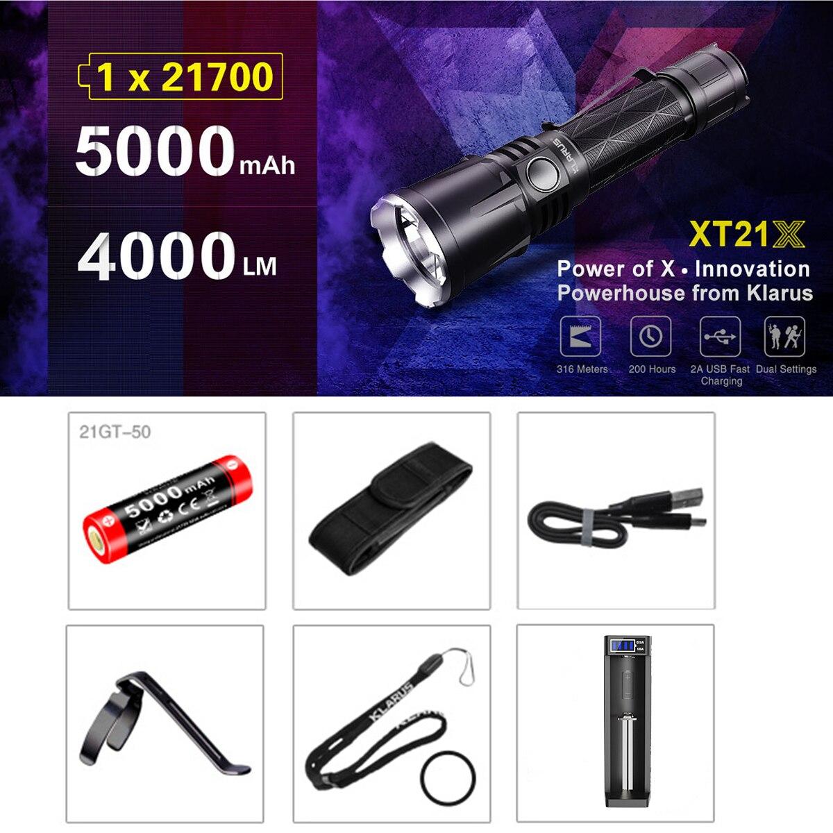 KLARUS XT21X CREE XHP70.2 P2 LED 4000 lumens 7 Mode lampe de poche LED tactique Micro-USB 2A 5000 mAh batterie Li-ion pour l'autodéfense