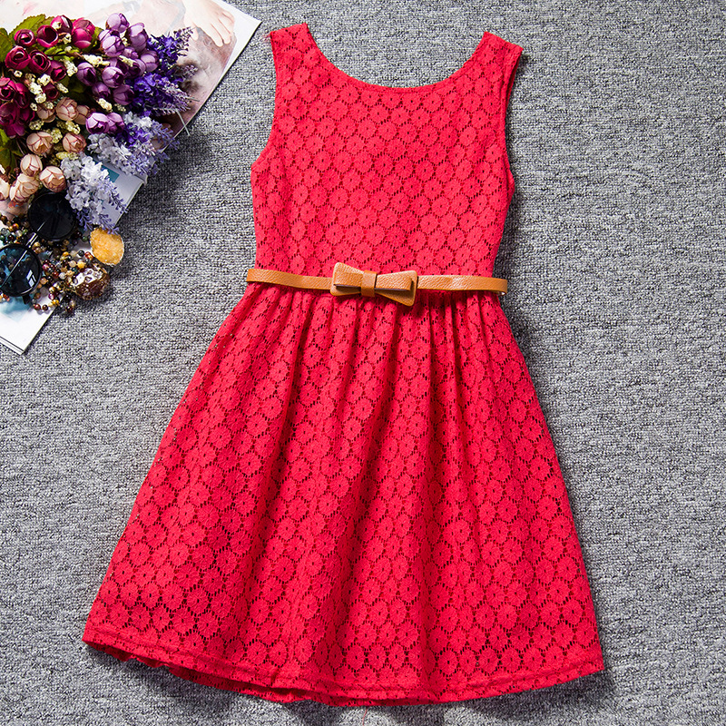 Hot Sale Elegant Girls Lace Hollow Dresses with Sashes Girls Sleeveless Princess Dress Summer Children's Clothing Free Shipping