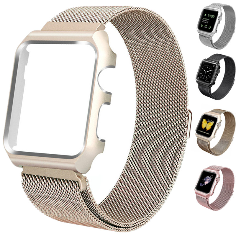 ASHEI Watch Strap For Apple Watch 42mm Milanese Loop Band Series 3 Bracelet with Protective Case For iWatch Band 38mm Series 1/2 sport loop for apple watch band case 42mm 38mm nylon watch strap bracelet with metal frame protector case cover for iwatch 3 2 1