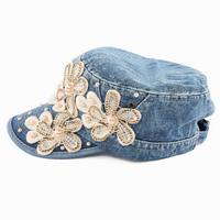 2018 neue Einzelhandel blume Point drill perle cowboy denim frauen baseball-kappe männer Hut strass print Diamond Point gorras hysteresenhut
