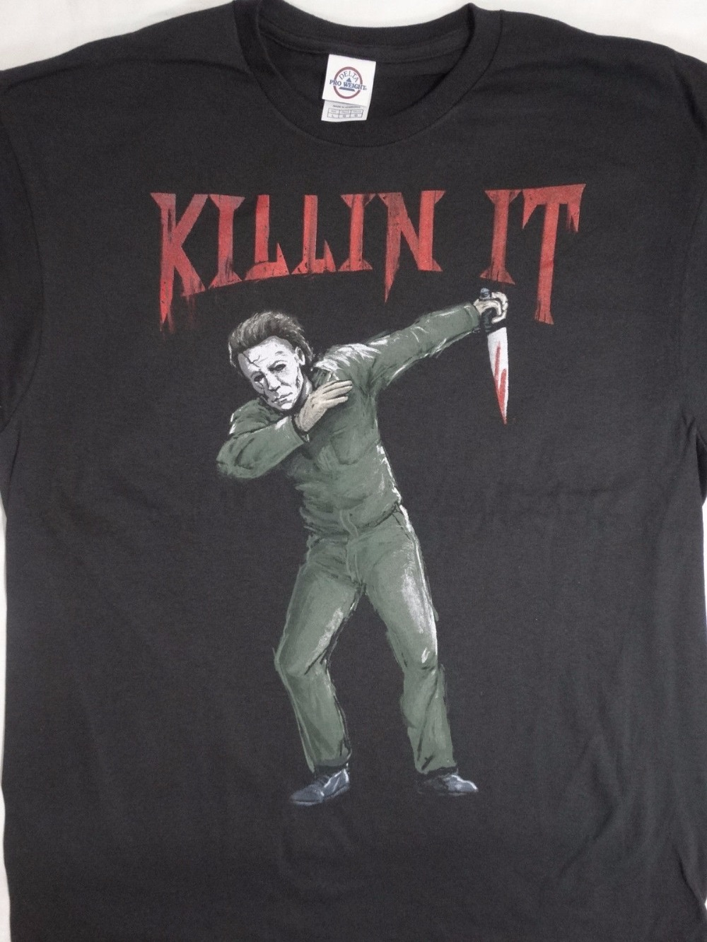 Printed Shirts Crew Neck Short Michael Myers Dabbing Killin It Horror Movie Printing Mac ...
