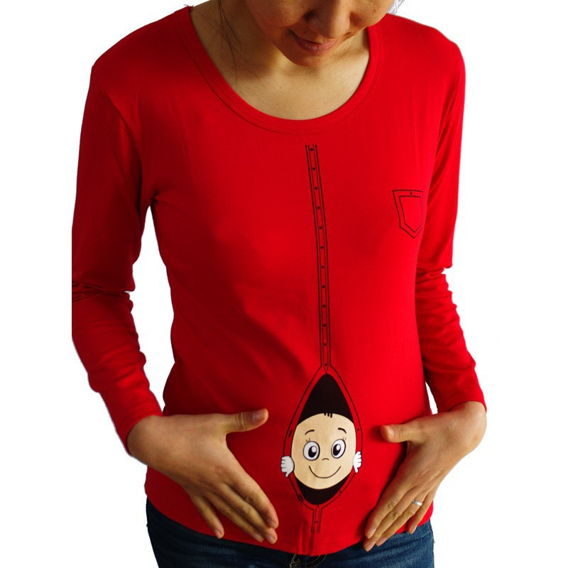 2015 new pregnant maternity t shirts casual pregnancy maternity clothes with baby peeking out funny maternity shirts 100 cotton in tees from mother kids