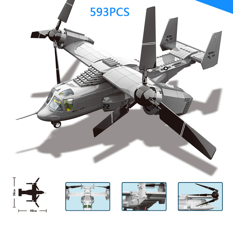 Hot modern Military ww2 v-22 Osprey Aircraft fighter building block airplane model air forces figures bricks toys collection hot modern military china aircraft liangning varyag carrier moc building block 1 525 scale model 1355pcs bricks toys collection