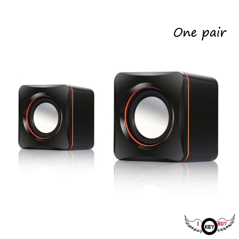 1 Pair Fashion USB 5V Computer Speakers Subwoofer 2.5W + 2.5W 4Ohm MP3 MP4 Digital Products Black I Key Buy image