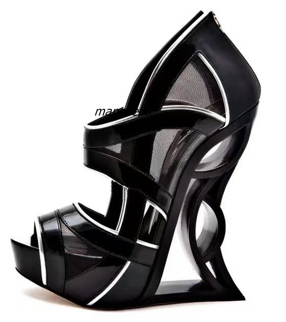 Fancy Cut-out Mesh Peep Toe Strange High Heel Sandals Groovy Women Hollow-out Heel Dress Sandals Trend Fashion Stage CatwalkShoe cut out shoulder striped tape dress