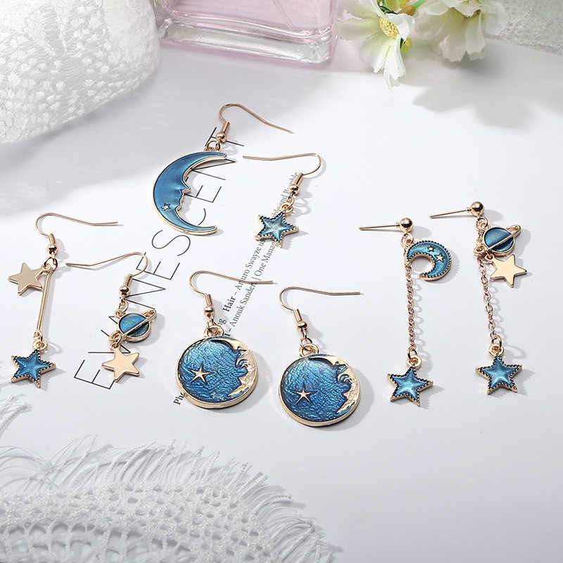New Arrival Korean Japan Lovely Blue Red Universe Planet Star Moon Dangle Earrings for Women Girl Ear Jewelry Gift