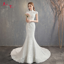 Jark Tozr 2019 Mermaid Wedding Dress With Veil Short Sleeve