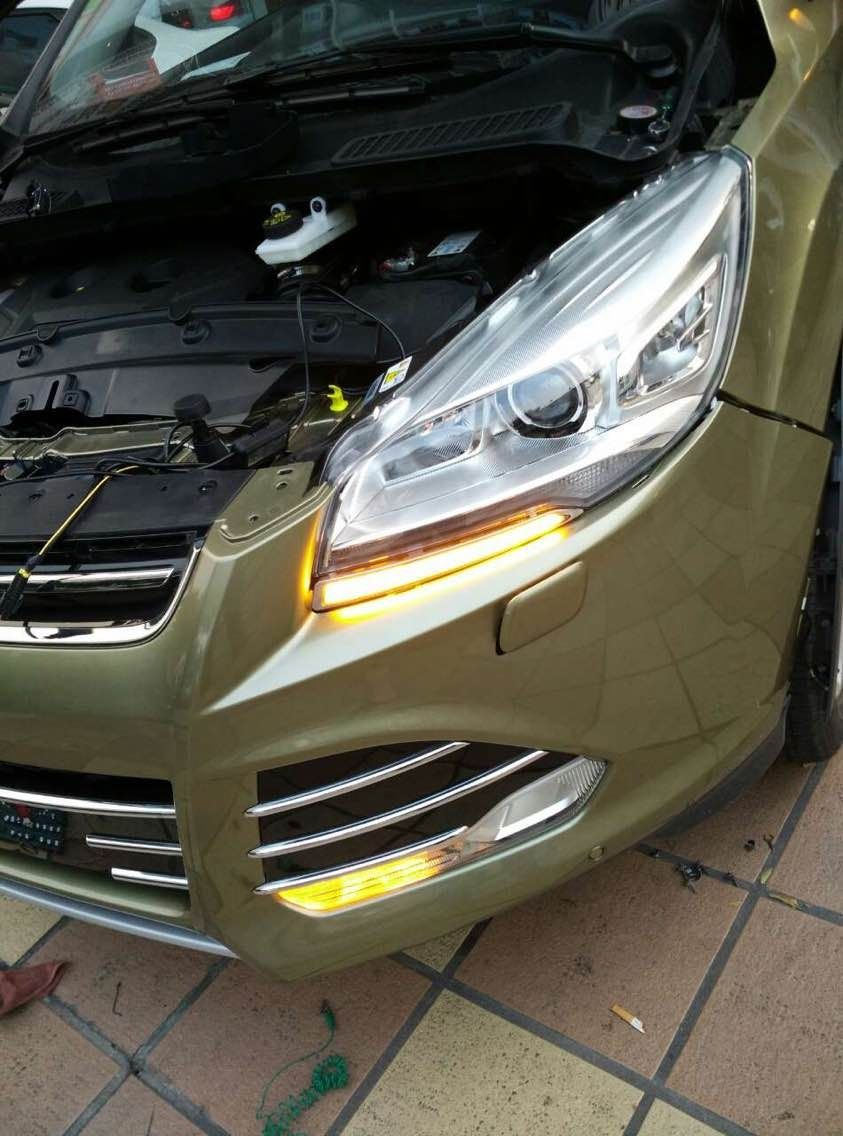 Led drl daytime running lights with amber turn indicator lamp for ford kuga escape 2013 car