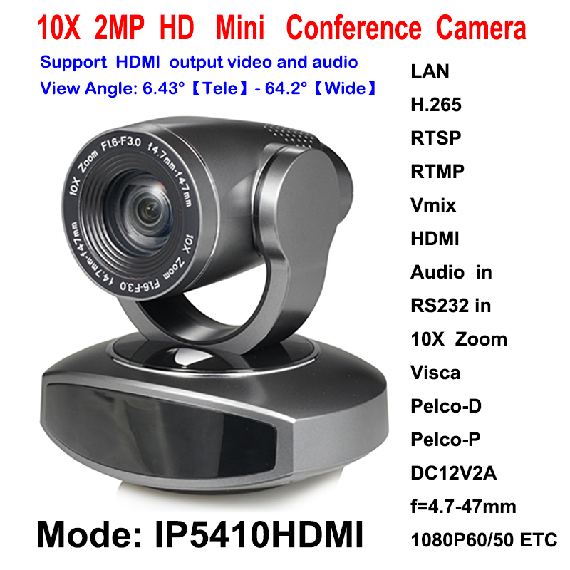10x Optical Zoom 2MP 1080P 60Fps HDMI IP Video Streaming Conference Camera Audio over IP / HDMI Both