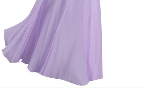 [Распродажа] шифоновое вечернее платье Длинное Элегантное длинное вечернее платье с блестками и бисером на шнуровке сзади милое - Цвет: Light Purple