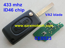 CE0523 Cheap 2 button flip remote key 433mhz with ID46 Chip VA2 307 Blade Fit For CITROEN C2 C3 C4 C5 C6 Car Alarm Keyless