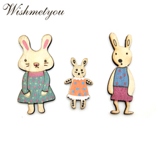 WISHMETYOU 10Pcs Colorful Rabbit Wooden Embellishments Diy Wood Slices Crafts Handmade Party For Kids Decor Home Accessories