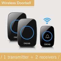 New Arrival EU US Plug Waterproof Black Wireless Doorbell 1 Outdoor Transmitter 1 Indoor Receiver Home