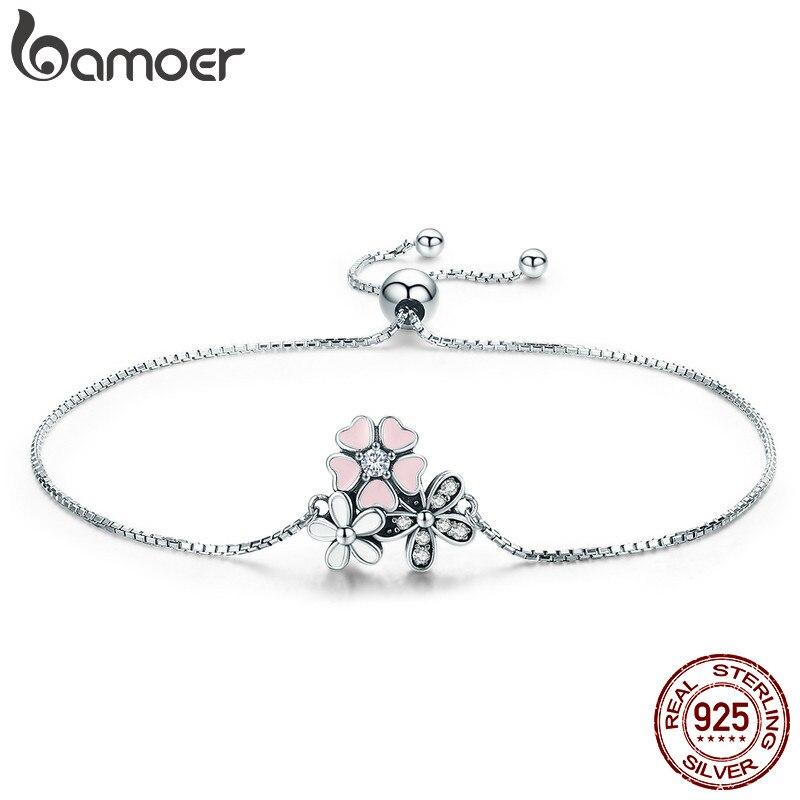BAMOER Mode Neue 100% 925 Sterling Silber Kirsche Daisy Blume Kette Link Frauen Armband Sterling Silber Schmuck Geschenk SCB055