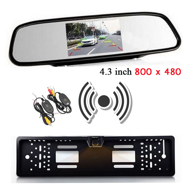 2.4g Wireless Auto Europe License Plate Frame Camera Rearview With Parking vehicle 4.3 Colorful LCD Car Rear View Mirror Monitor hd 7 lcd car mirror monitor parking dvd vcd gps tv screen car europe license plate frame rearview camera w 4 led night vision