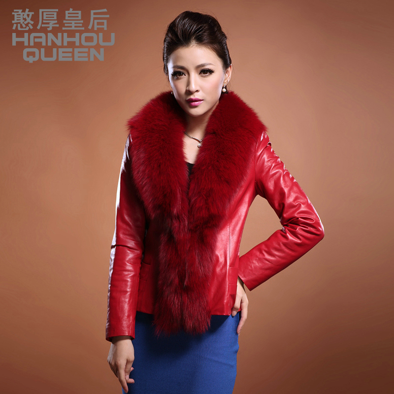 2012 new Ladies' Genuine leather jacket,Elegant Slim fox fur collar Real leather coat,Sheepskin jacket Free shipping FQ037A