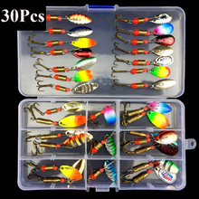 GLEEGLING 30Pcs Fishing Lure Minnow Spoon Metal Soft Bait Kit Isca Artificial with Box