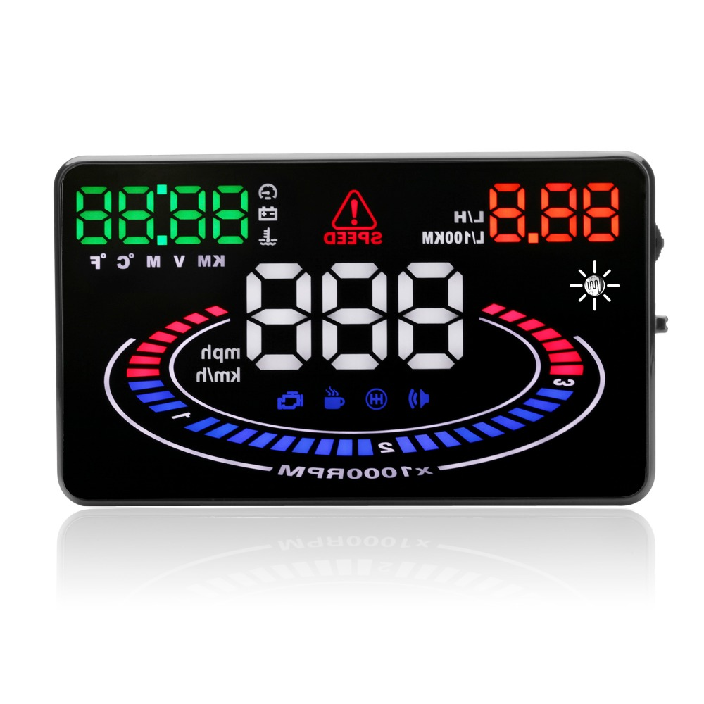 E300 OBD2 HUD head-up display auto  vehicle computer speed fuel consumption meter heads-up display speeding alert 4f car obd2 ii manual switch hud overspeed warning windshield projector alarm system head up display interior lighting