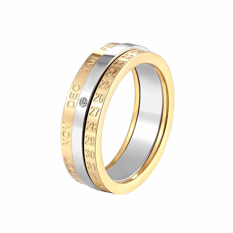 New Rotatable Month And Date Crystal Ring For Women Top Quality Stainless Steel Gold And Silver Color Ring Wedding Jewelry