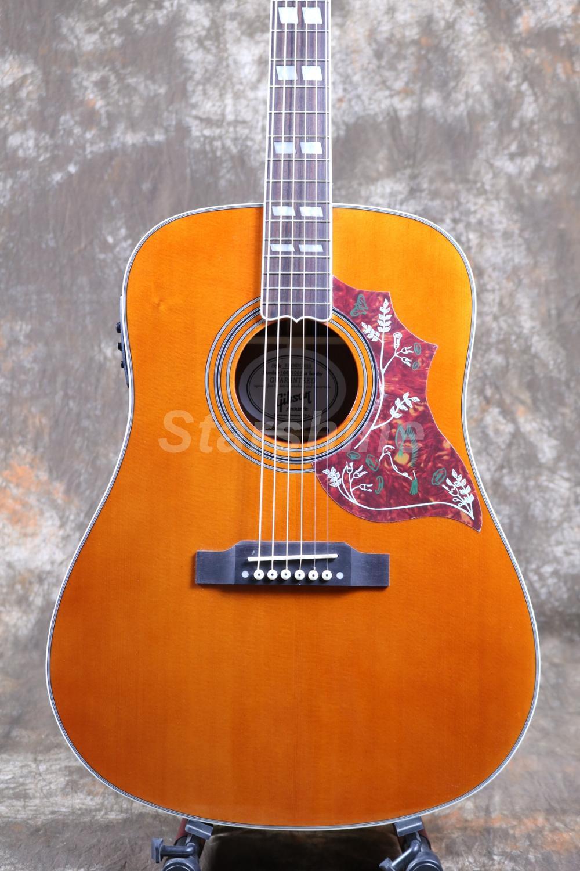 Starshine 6 cordes guitare acoustique ZZ-HMY Fishman 101 EQ, haut rigide, écrou d'os et selles ronflant oiseau Pickguard Grover Tuner - 5
