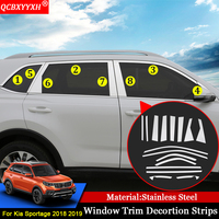 For KIA Sportage 2018 2019 QCBXYYXH Car styling Car External Window Sequins Decorations Stickers Auto Door Frame Car Accessories