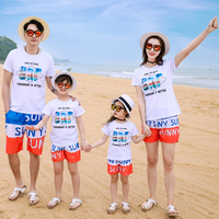 Mom Daughter Dad Son Family Matching Outfit Boys Girls Cotton Top and Fast Dry Shorts Suits Mother Daughter Holiday Set Kids Set