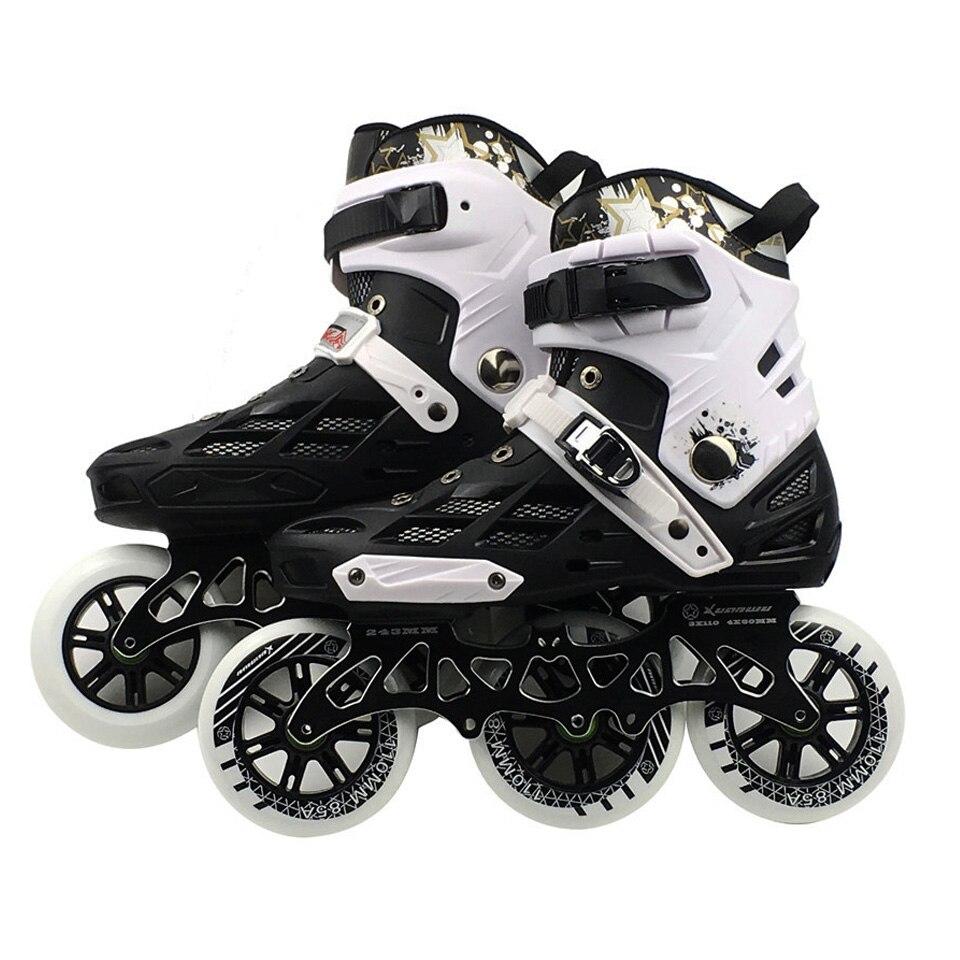 Professionnel Vitesse Adulte Chaussures De Patinage À Roulettes Interchangeables Slalom Vitesse Patines Patinage Libre Course Patins Chaussures 3*110mm roue IC01