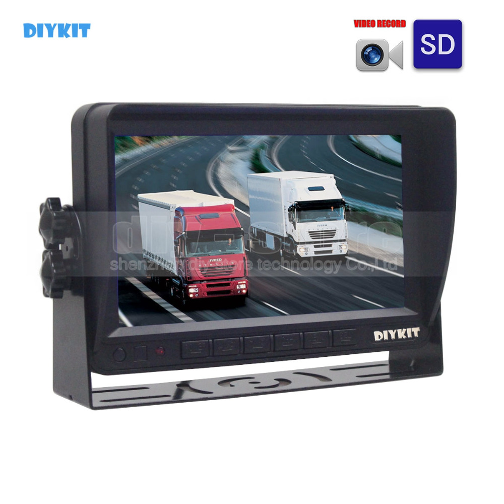 DIYKIT AHD 7inch TFT LCD Car Monitor Rear View Monitor Support 1300000 Pixels AHD Camera Support SD Card Video Recording diysecur 4pin dc12v 24v 7 inch 4 split quad lcd screen display rear view video security monitor for car truck bus cctv camera