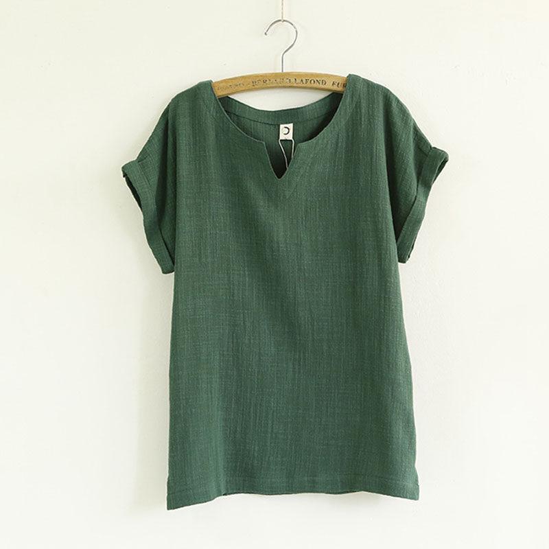 Plus Size blusa de linho topos de verão mulheres top mulher camisa branca  de algodão mulheres 966ada71a6b3c