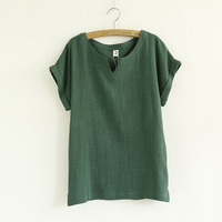 Chemise Femme Women Blouses Cotton Linen Loose V Neck Woman Short Sleeves Summer Flax Half Sleeve