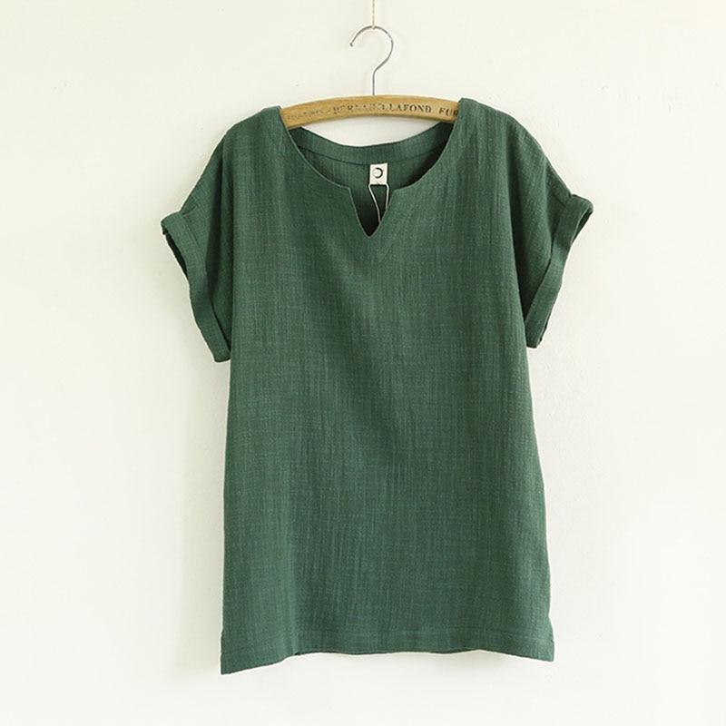 chemise femme women blouses Cotton linen loose v-neck woman short sleeves Summer flax half sleeve female shirts chemisier femme