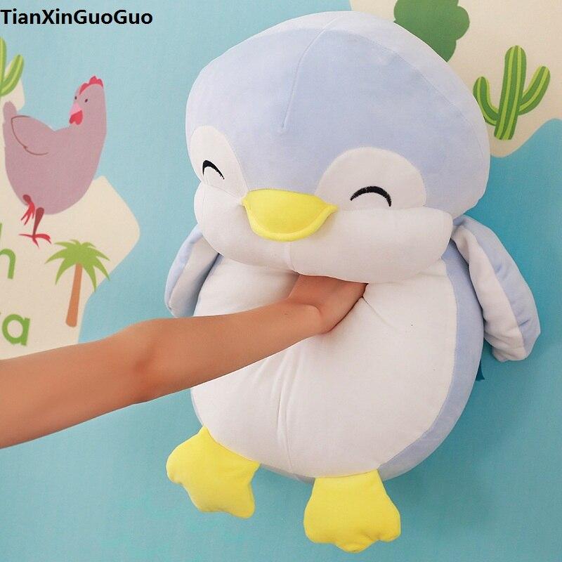 Grand 55 cm mignon pingouin bleu en peluche en duvet de coton gros pingouin poupée douce oreiller de couchage cadeau d'anniversaire s0593