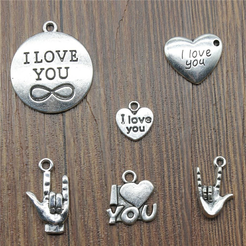 50Pcs Flower Charms Vintage Handmade LOVE HOPE FAITH Heart Pendant DIY Craft