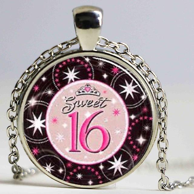 Sweet 16 sixteen birthday glass pendant necklace for girl birthday sweet 16 sixteen birthday glass pendant necklace for girl birthday gift wholesale glass 1pcslot aloadofball Gallery