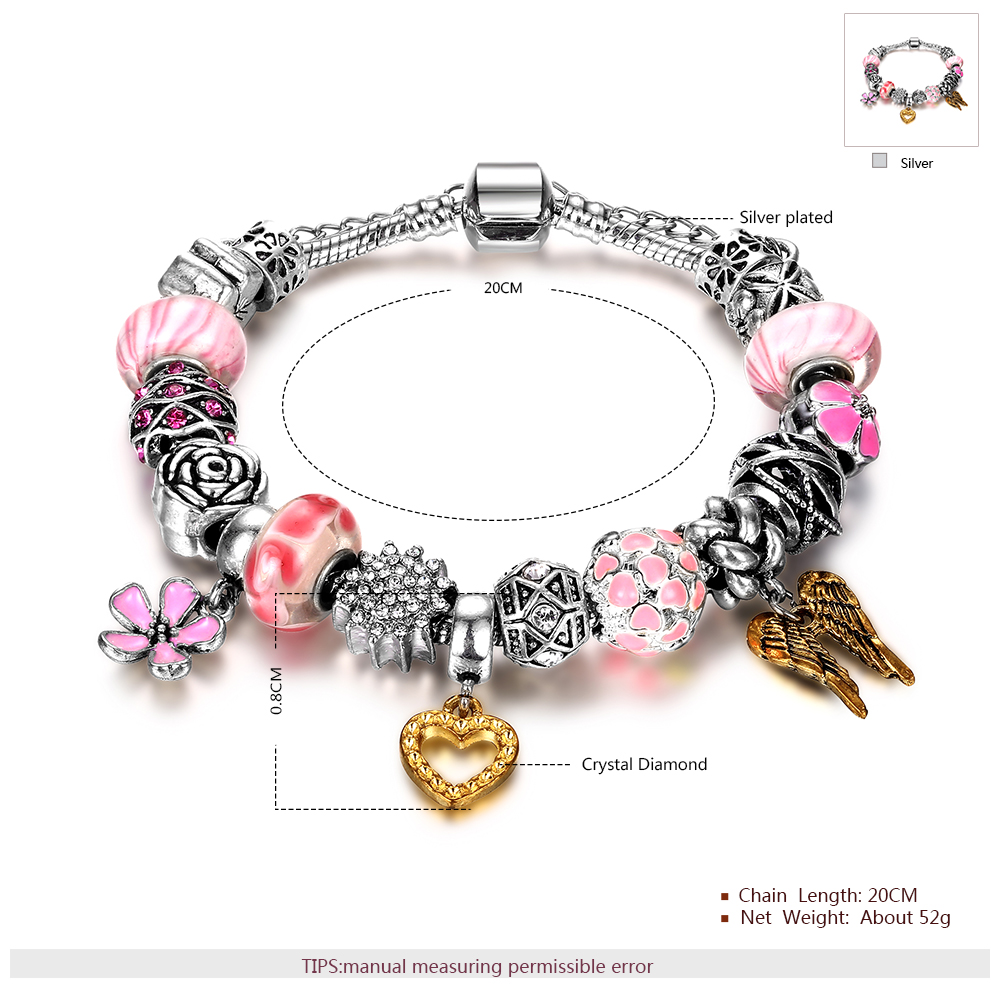bracelet bamoer charm chain pink women for silver heart safety onlinemall with authentic jewelry original product