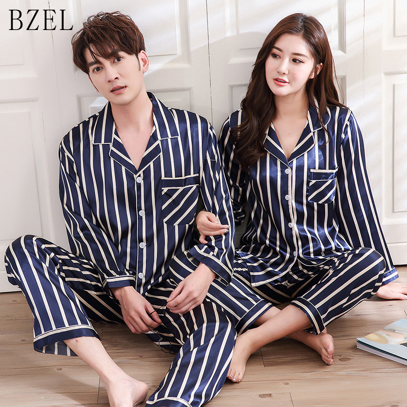 BZEL Silk Satin Pajamas Sets Couples Sleepwear Striped Pijama Femme Long Sleeve Pyjamas Lovers' Clothes Casual Home Wear