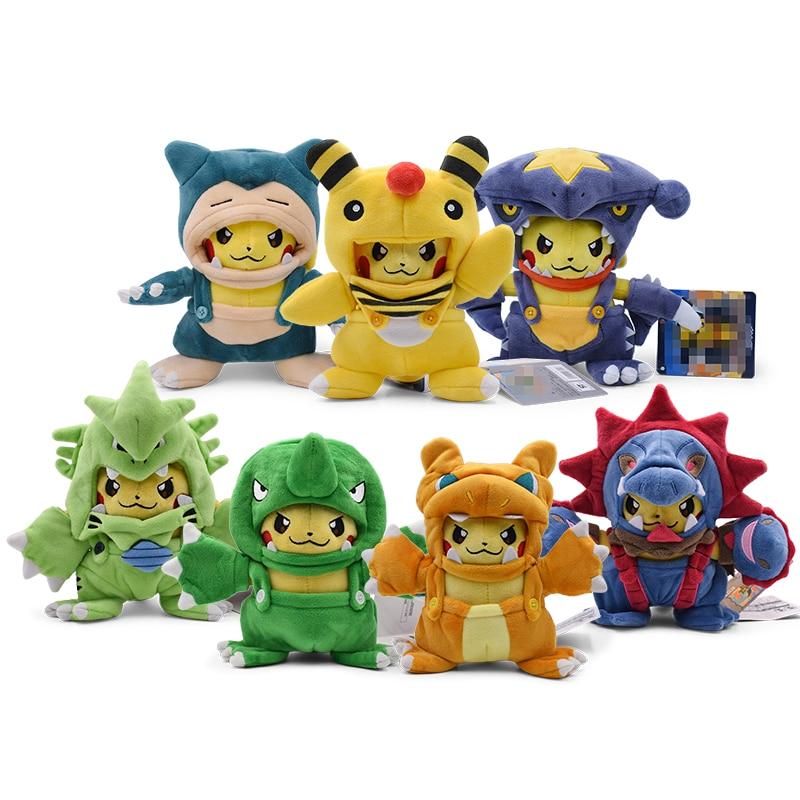 7 Styles Plush Toys Pikachu Cosplay Charizard Snorlax Garchomp Ampharos Tyranitar Hydreigon Stuffed Animal Dolls Children Toy