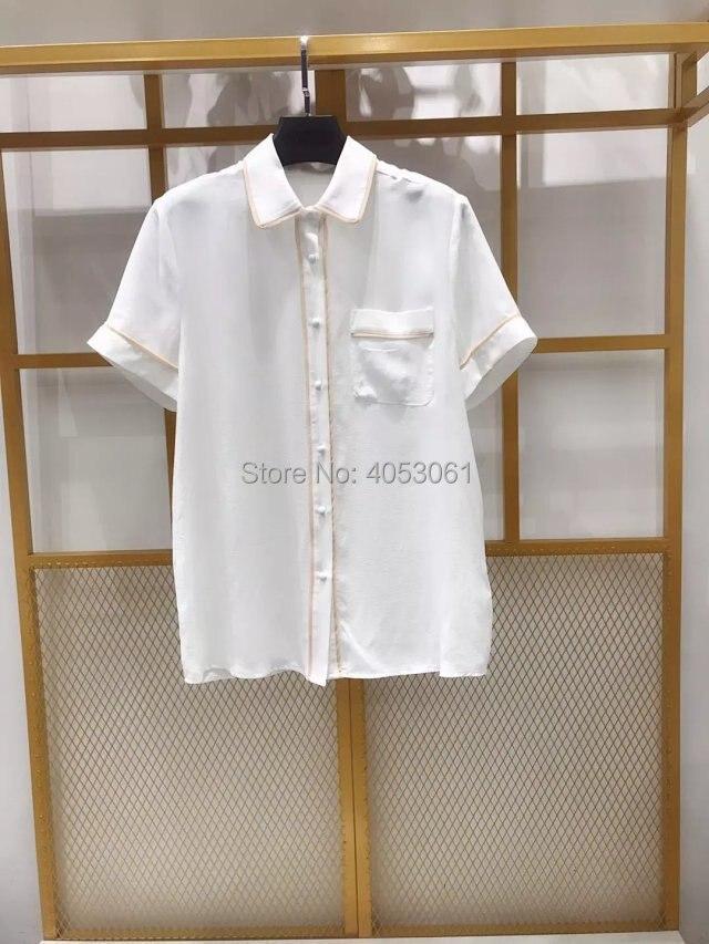 Top Quality Silk 100 White Lapel Short Sleeve Shirt Top Features Contrast Trim Sigle Pocket